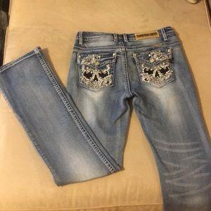 Platinum Plush Denim Bootcut Jeans w/ Skulls